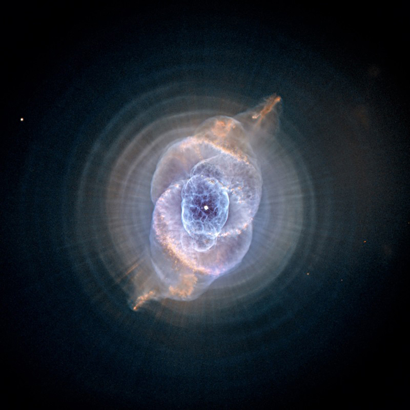 The Cat's Eye Nebula (NGC 6543) shows at least 11 concentric shells surrounding its central white dwarf.