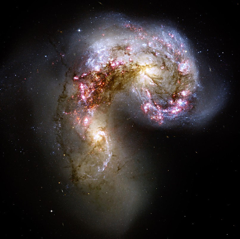 Galaxies NGC 4038 and NGC 4039 are merging.