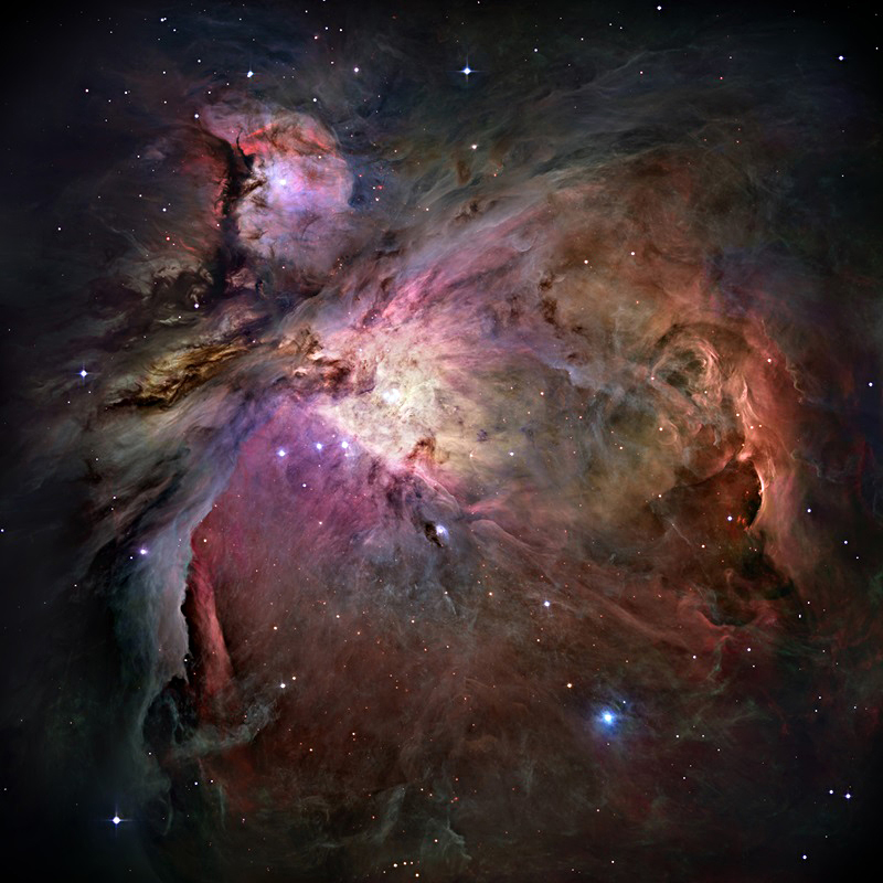 The Orion Nebula is a dense cloud of gas, dust, and young stars.