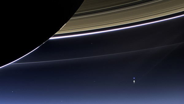On July 19, 2013 from 898 million miles (1.44 billion kilometers), the third picture of Earth from another planet was taken. Earth can be seen under Saturn's main rings, the F, G, and E rings.