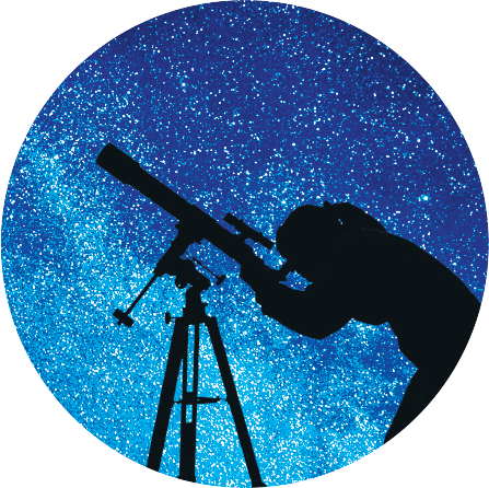 The Night Sky Viewing icon featuring a person looking into a telescope