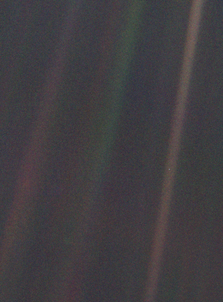 "Also known as ""The Pale Blue Dot"", this photo of Earth was the first ever photograph of the solar system. After completing its mission of studying the outer solar system, NASA's Voyager 1 space probe captured this picture of Earth from 4 billion miles (6 billion kilometers) away on February 14, 1990."