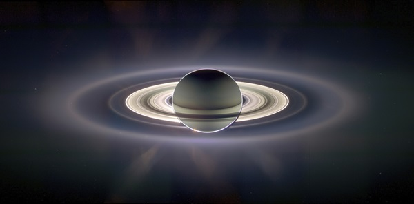 The Cassini spacecraft took this stunning image of Saturn eclipsing the Sun in 2006, as the probe traveled through Saturn's shadow.