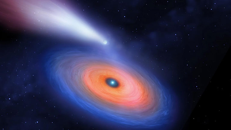 A giant planet loses mass as it orbits beyond the gas disk of the puny white dwarf WDJ0914+1914