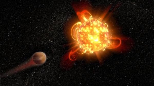 Powerful superflares from young red dwarf stars, like the one shown in this artist's concept, can strip the atmospheres from fledgling planets, spelling disaster for any potential life.