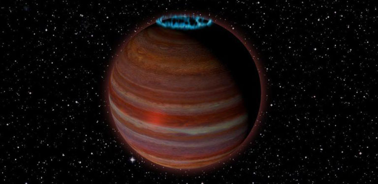 SIMP J01365663+0933473, shown here in this artist's concept, is a massive, nearby exoplanet with a powerful, aurora-generating magnetic field.