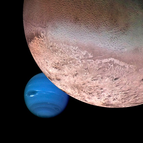 A computer-generated montage shows Neptune as it would appear from a spacecraft approaching Triton