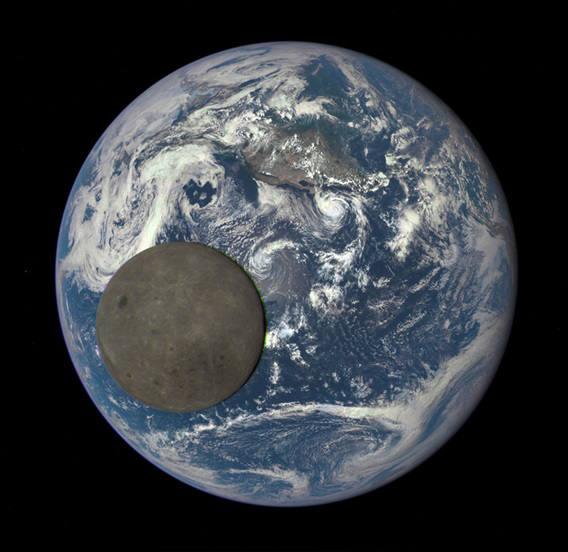 The Moon transiting in front of Earth on July 16, 2015, seen from DSCOVR.