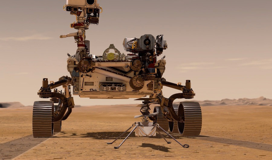 A close up of the Perseverance rover