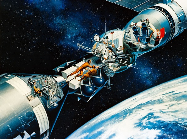 An artist's illustration of the docking mission