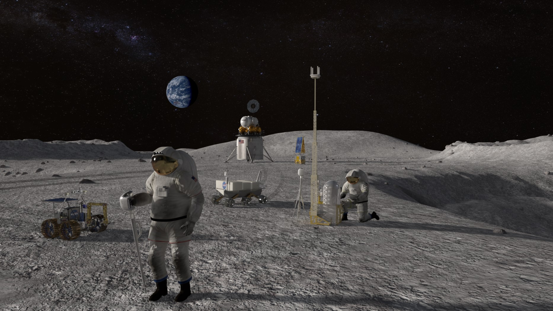 An illustration of astronauts building a moon base.