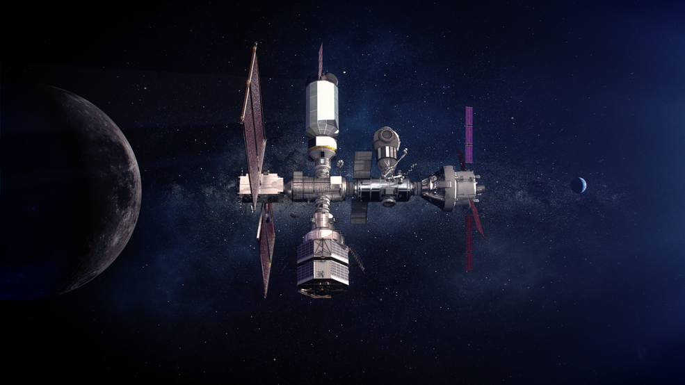 An illustration of the Gateway solar electric propulsion spacecraft.