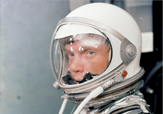 A picture of the famous astronaut John Glenn in a spacesuit.