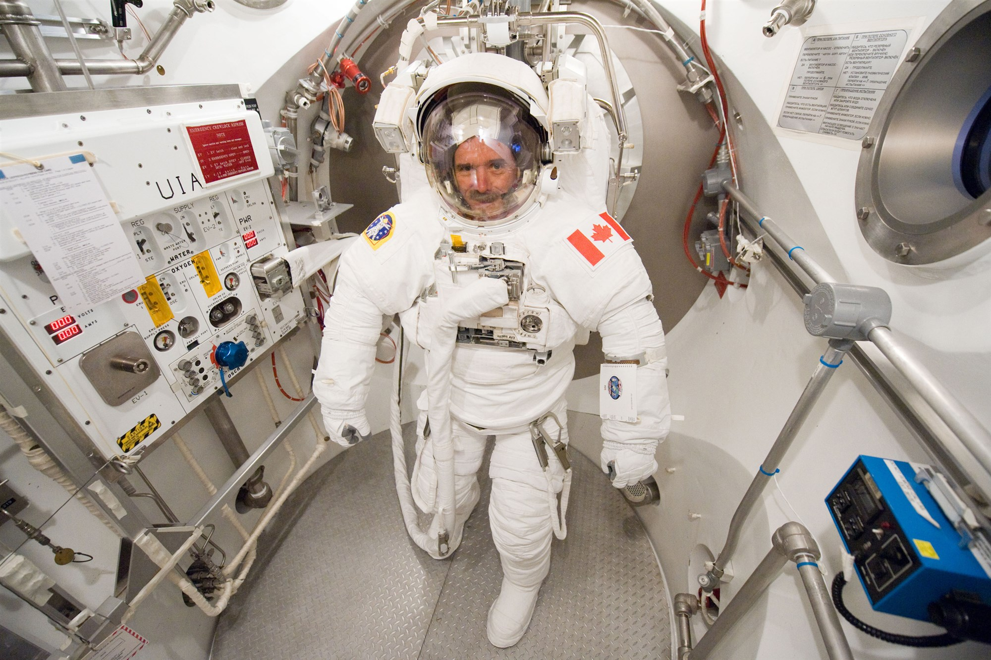 A picture of Chris Hadfield in a spacesuit.