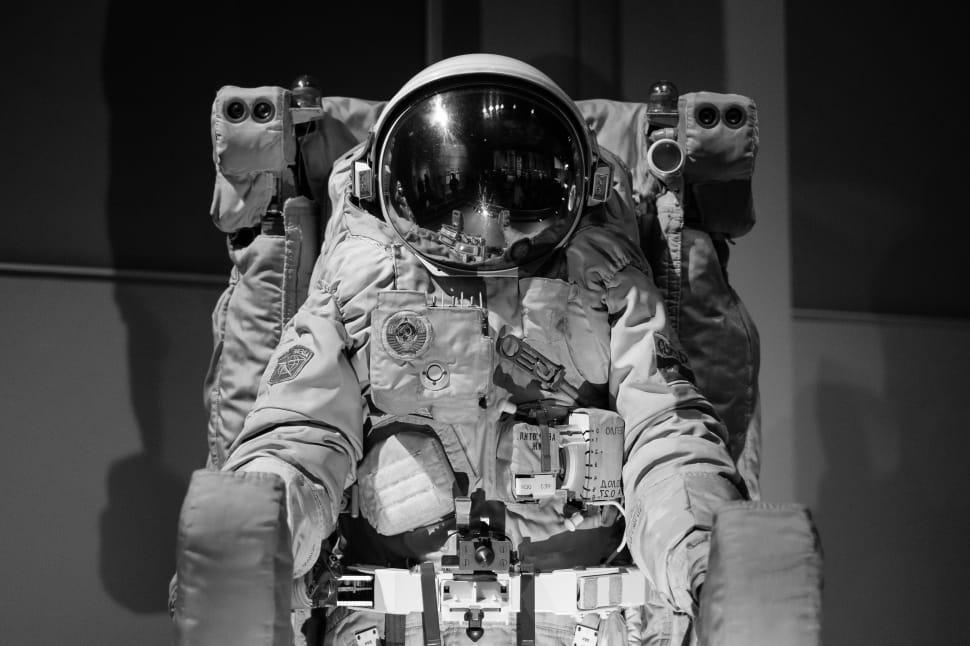 A pressurized cosmonaut suit