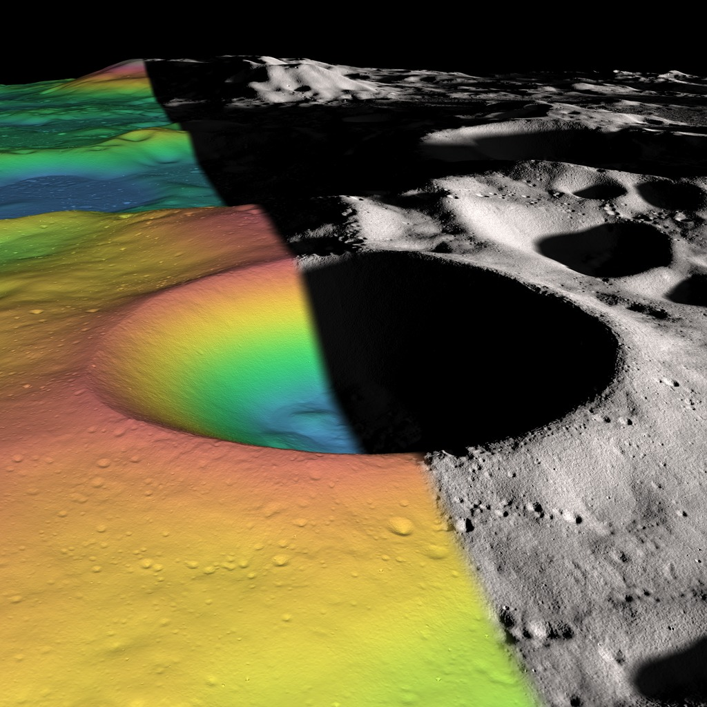 A computer-generated image of the Shackleton crater, a bowl-shaped crater that is 21 kilometers wide and 4 km deep.