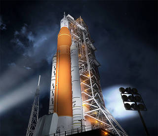 An image of NASA's new Space Launch System (SLS) rocket at its spaceport where it will launch.