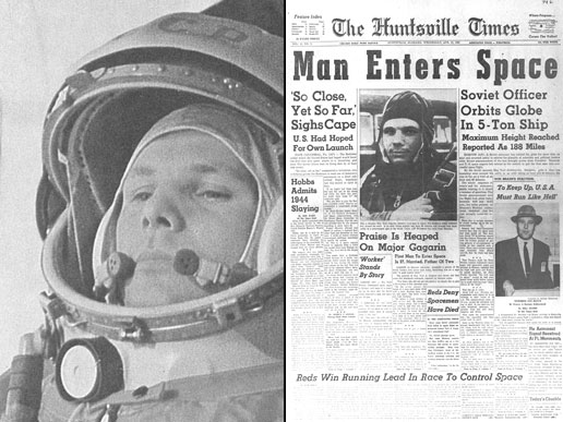 A picture of the Huntsville Times newspaper story on cosmonaut Yuri Gagarin's accomplishment next to a picture of Gagarin in his spacesuit.