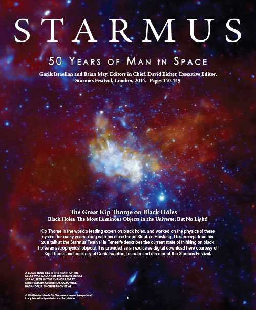 The Starmus download cover showing a black hole in the milky way galaxy