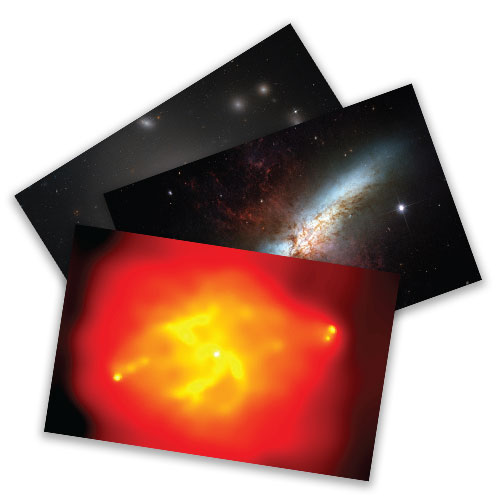 A collection of postcards showing various locations of black holes