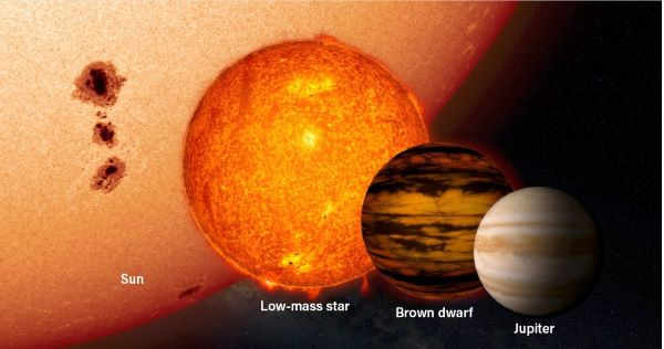 An illustration of the Sun, next to a low-mass star, next to a brown dwarf, next to Jupiter.