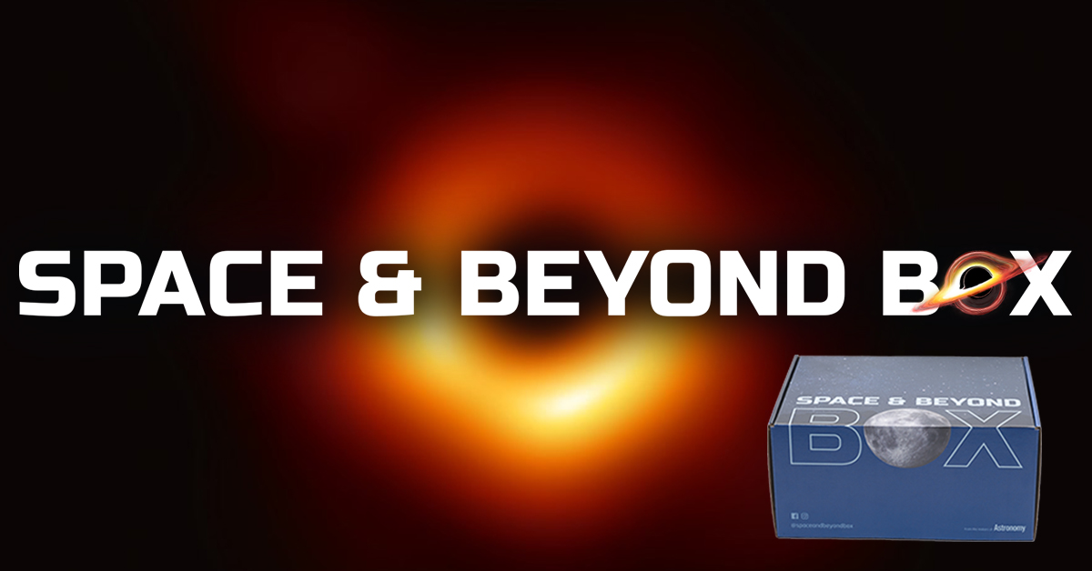 a picture of the space and beyond box with a black hole in the background
