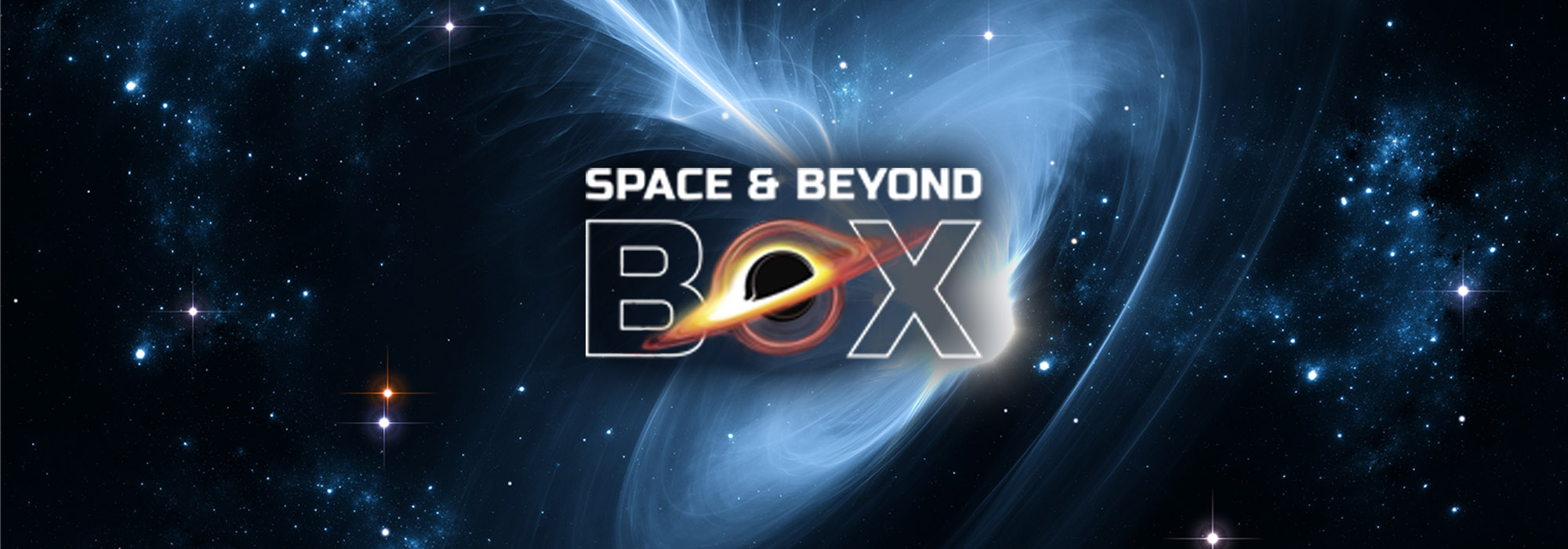 The Space and Beyond Box logo with an illustration of a black hole behind it
