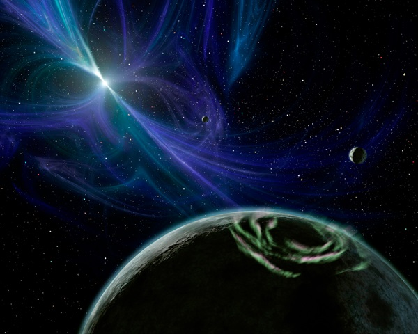 a pulsar of swirling blue color behind the horizon of a planet in the foreground
