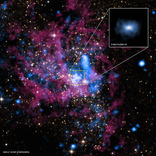 A large group of magenta and blue gasses with multiple stars. A zoom in shows a blue cloud of xrays.
