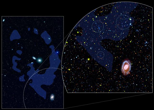 A sky chart showing a zoomed in area of the Leo constellation where young dwarf galaxies reside