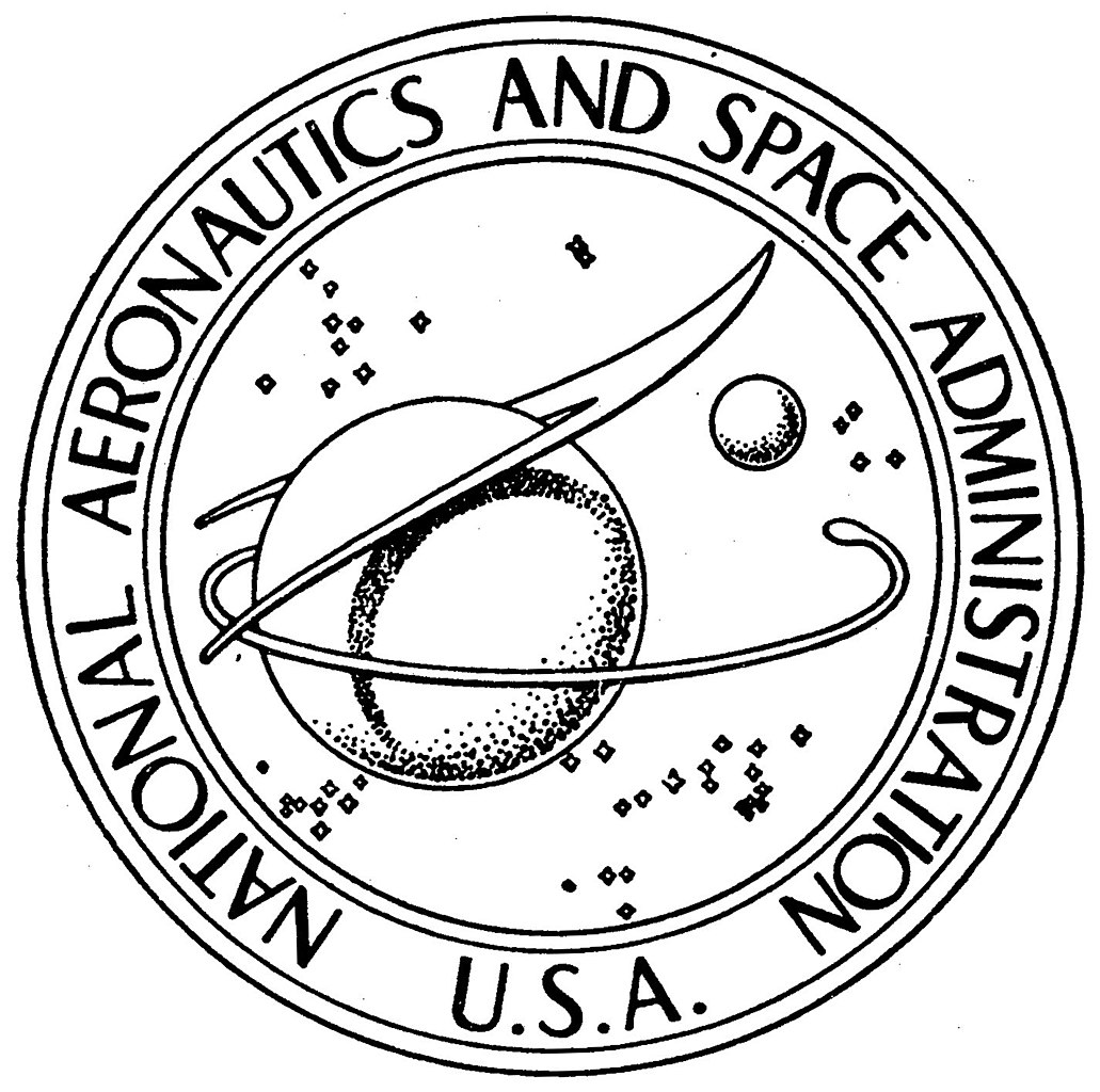 a round logo showing the earth and the moon with the words national aeronautics and space administration circling the logo