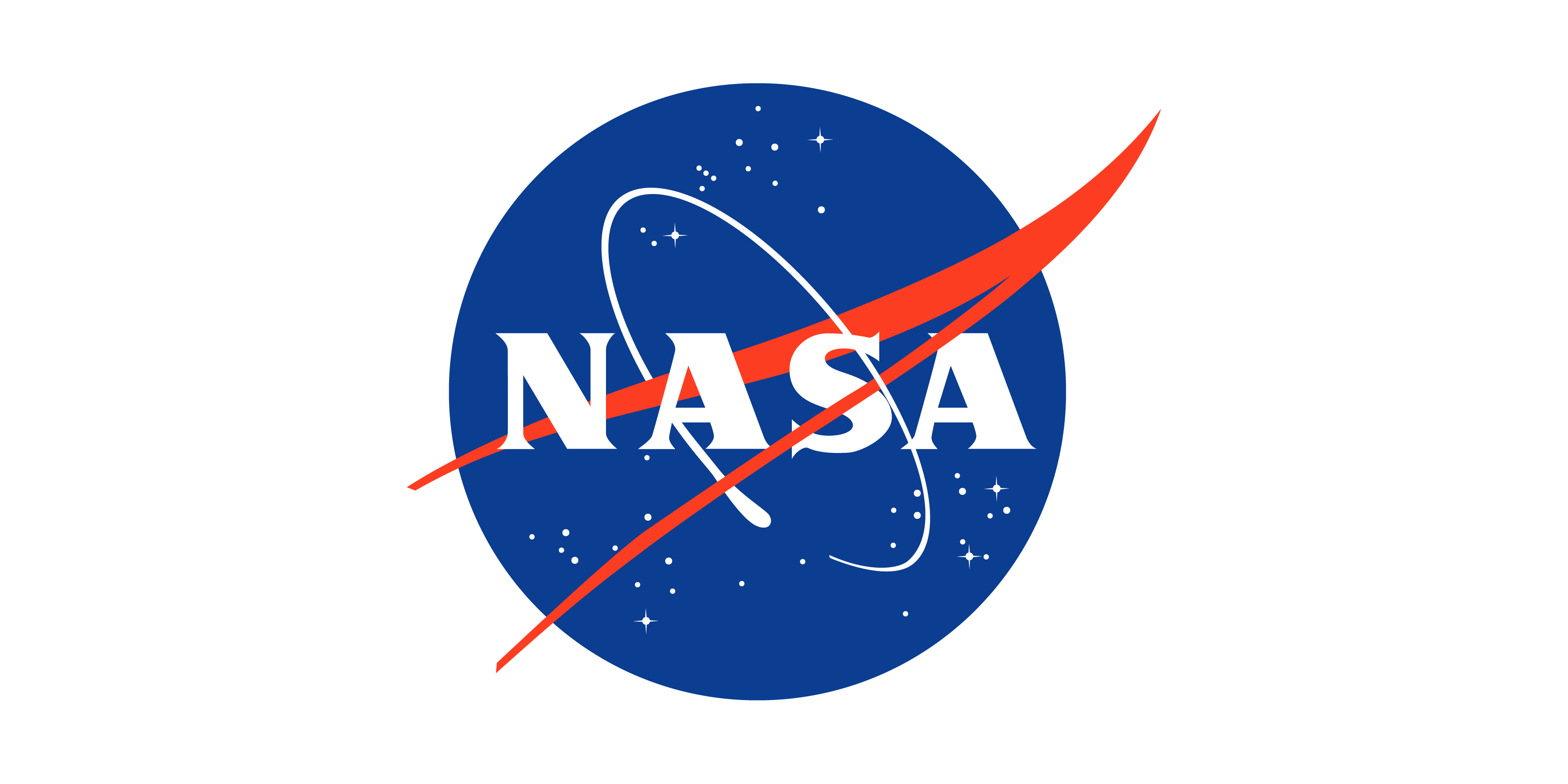 The Nasa logo features a blue circle with a red wishbone shaped swish and the word Nasa