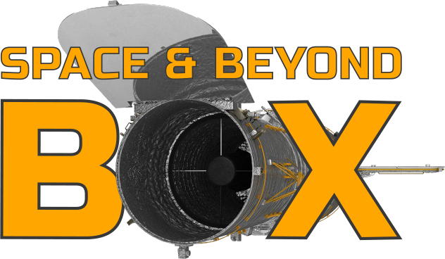 The space and beyond box logo with the Hubble Space Telescope in place of the o in the word box
