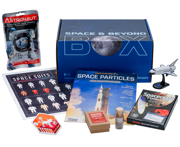 a closed box surrounded by space exploration themed products