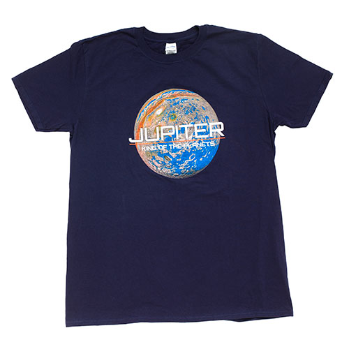 A dark blue t shirt with the planet on the chest and the words jupiter king of the planets