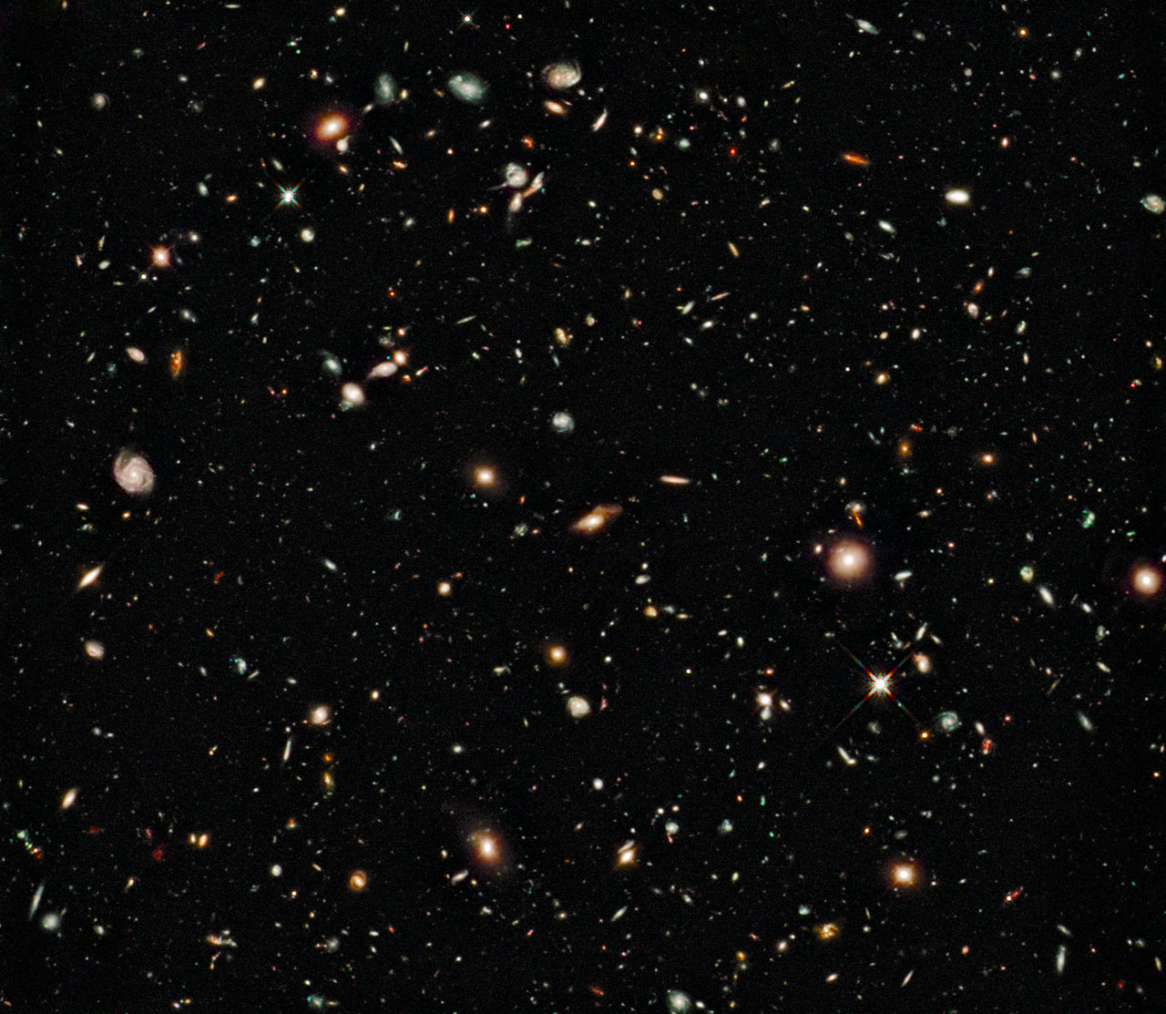 The Hubble Deep Field image showing multiple galaxies