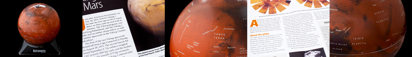 A strip of five images showing different parts of the Mars globe and the Mars flyer that comes with it.