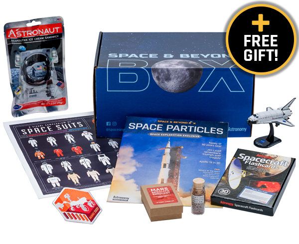 a closed box surrounded by space exploration themed products and a burst that says plus free gift