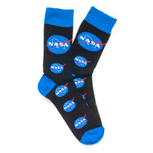 a pair of black socks with multiple blue nasa logos