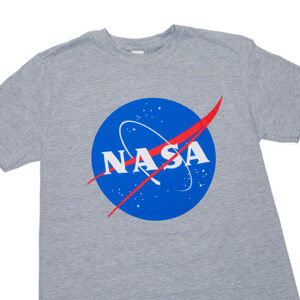 a grey t shirt with the blue nasa logo on the front