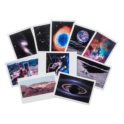 a set of 10 postcards featuring various imagery taken by hubble and from the moon