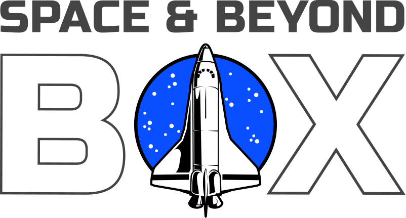 The Space & Beyond Box logo with a top down view of the Space Shuttle against a round star field as the O in the word Box.