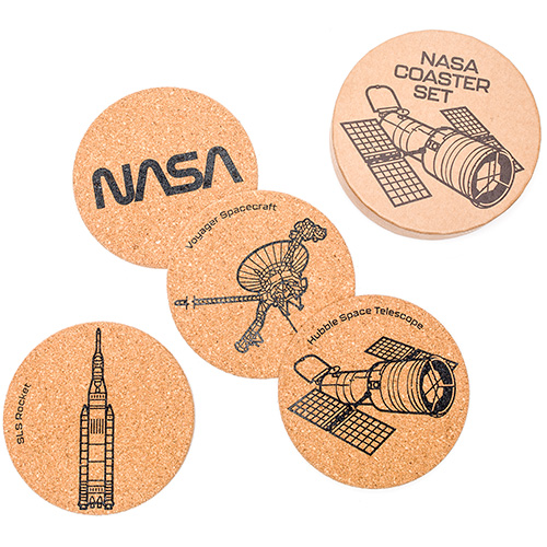 a wooden box with the words nasa coaster set and four coasters with the nasa logo, voyager spacecraft, sls rocket and the hubble space telescope
