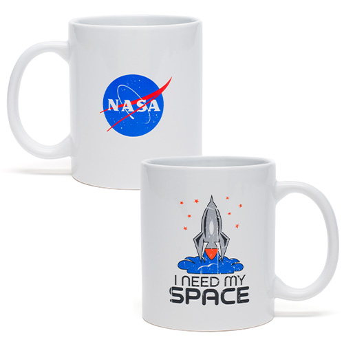 the nasa mug featuring the nasa logo on one side and an illustrated rocket on the other with the words i need my space